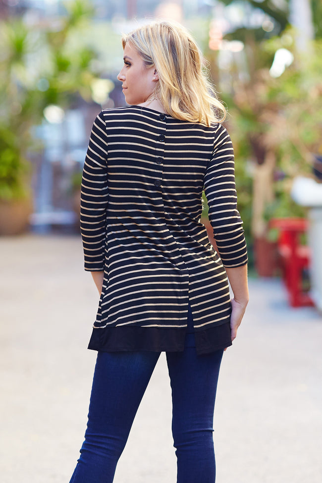 Mocha Black Striped Button Back 3/4 Sleeve Top