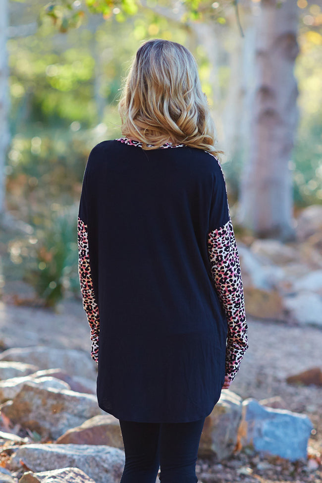 Coral Black Animal Print Pocket Accent Maternity Top