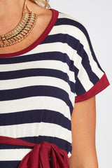 Navy Striped Burgundy Accent Sash Tie Maternity Top