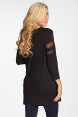 Black Mesh Accent 3/4 Sleeve Maternity Top