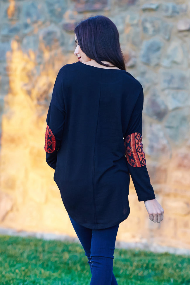 Black Tribal Print Elbow Patch Top