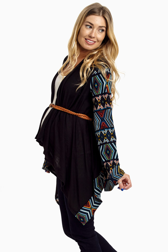 Black Teal Tribal Print Sleeve Belted Maternity Cardigan