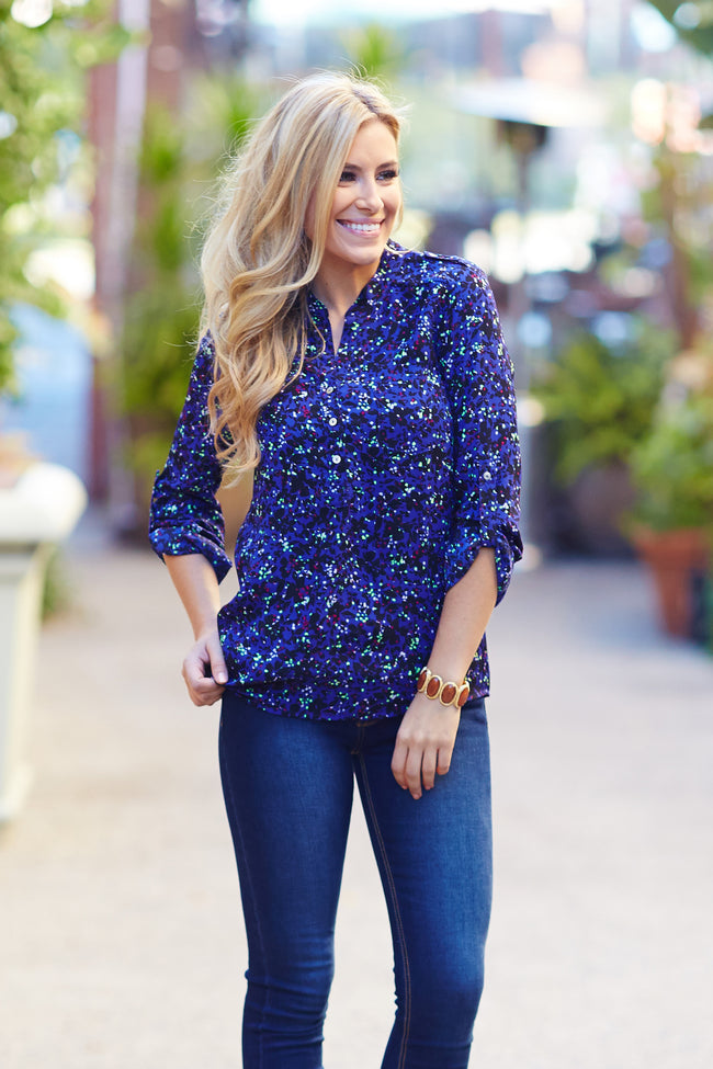 Royal Blue Abstract Floral Printed Chiffon Blouse