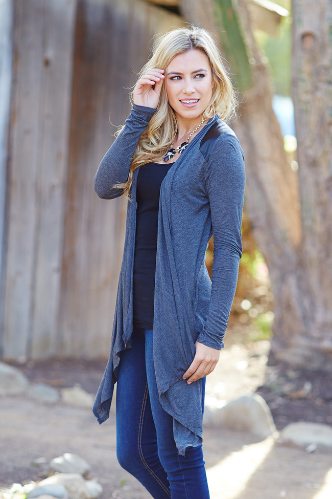 Charcoal Faux Leather Accent Shoulder Cardigan
