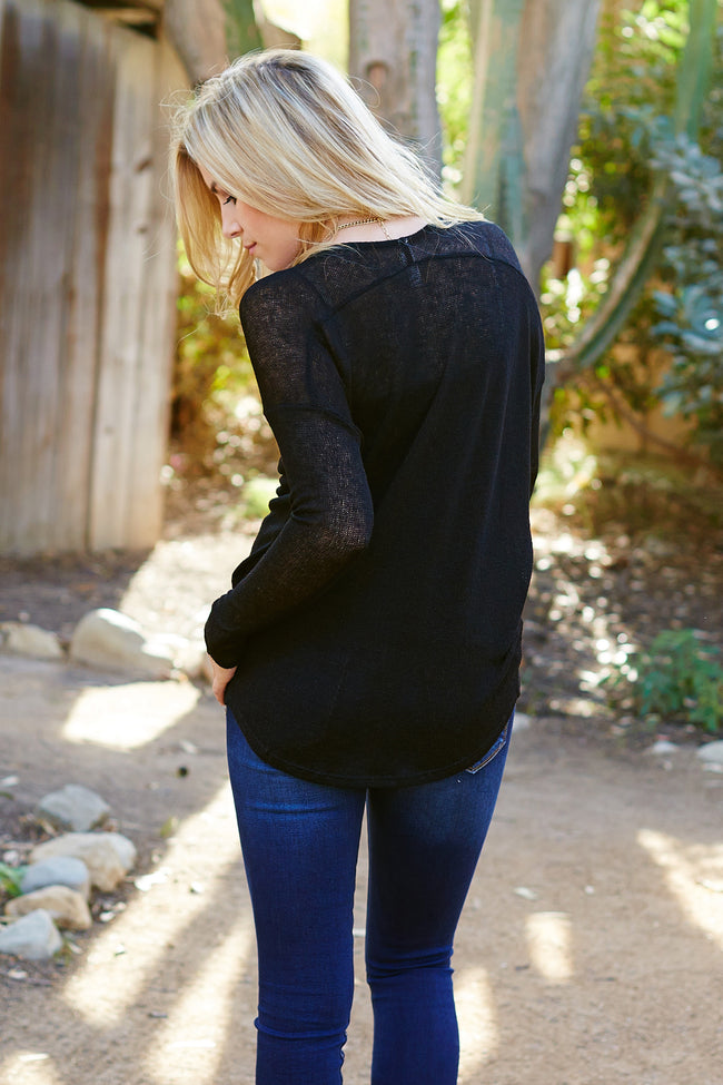 Black Knit Sweater Top