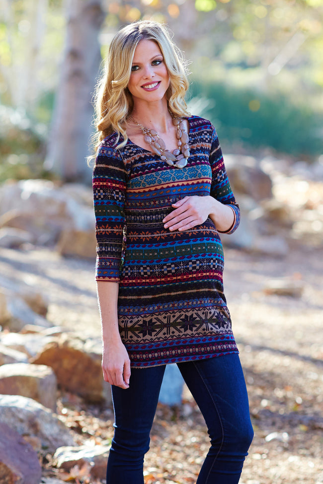 Teal Multi-Colored Printed Knit 3/4 Sleeve Maternity Top