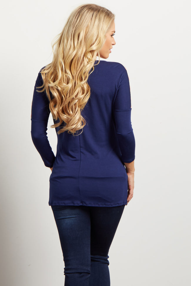 Navy Blue Neon Chevron Accent Shoulder Maternity Top