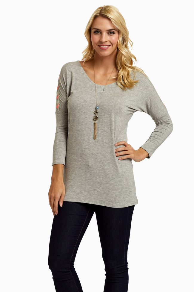 Grey Neon Chevron Accent Shoulder Maternity Top