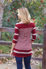 Burgundy Beige Striped Colorblock Knit 3/4 Sleeve Maternity Top