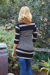 Black Beige Striped Colorblock Knit 3/4 Sleeve Maternity Top