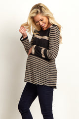 Black Beige Striped Knit Button Back Maternity Top