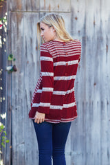 Burgundy Beige Striped Colorblock Knit Button Back Top