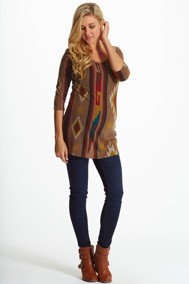 Mocha Tribal Print Knit Fitted Maternity Top