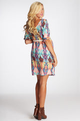 Multi-Colored Abstract Print Belted Maternity Dress