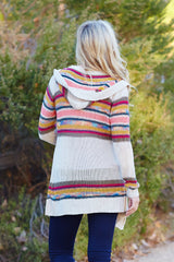 Cream Multi-Colored Striped Knit Hooded Cardigan