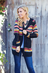 Black Multi-Colored Striped Knit Hooded Cardigan