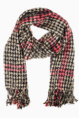 Black Ivory Houndstooth Plaid Printed Knit Scarf