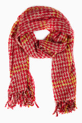 Red Beige Houndstooth Plaid Printed Knit Scarf