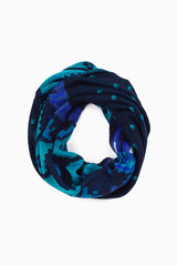 Shades Of Blue Printed Knit Infinity Scarf