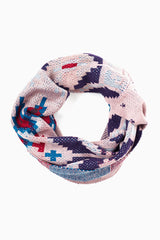 Dusty Pink Multi-Colored Printed Knit Infinity Scarf