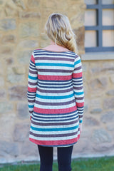 Teal Multi-Colored Striped Knit Pocket Front Maternity Top