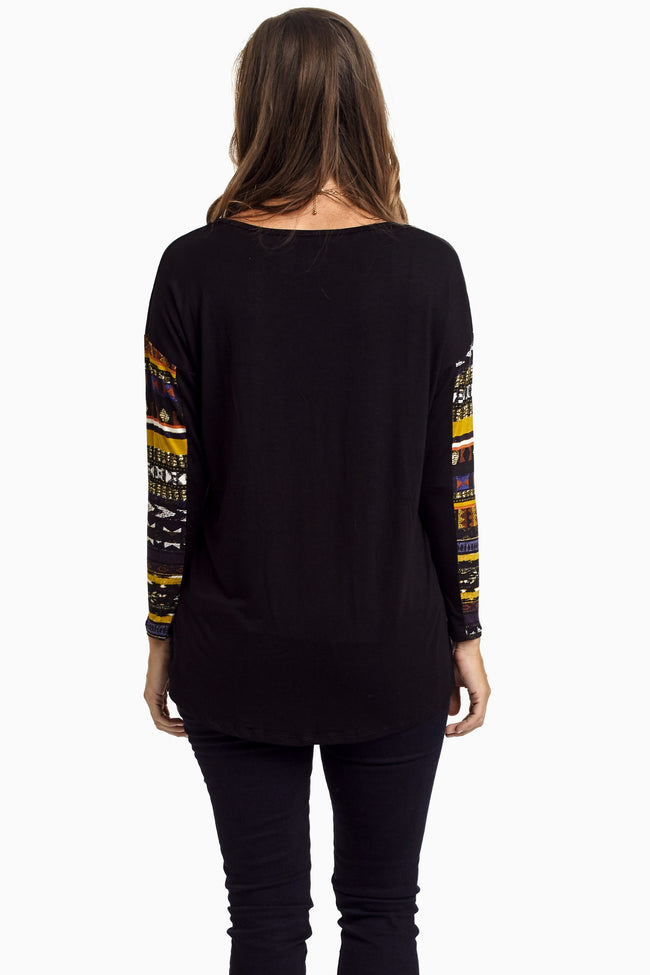 Black Multi-Colored Tribal Print Sleeve Top