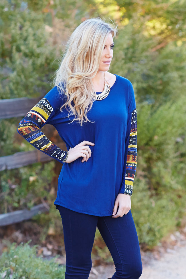 Navy Blue Multi-Colored Tribal Print Sleeve Top