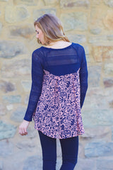 Navy Blue Pink Floral Printed Chiffon Back Knit Top