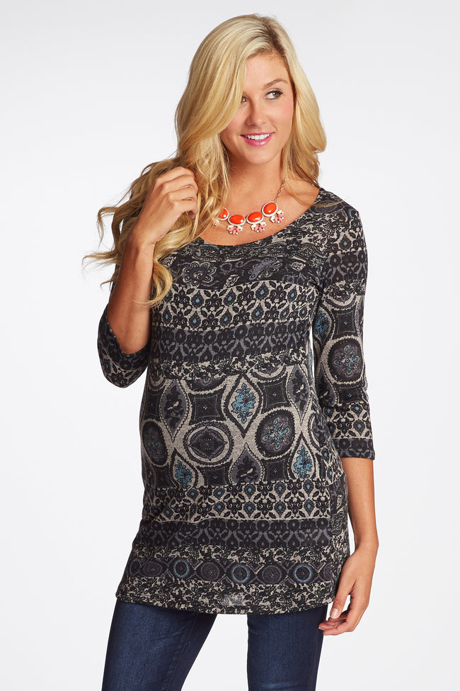 Charcoal Blue Printed Button Accent 3/4 Sleeve Maternity Top