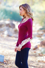 Burgundy Crochet Accent Long Sleeve Top