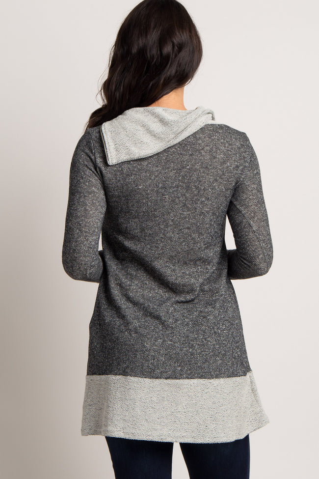 PinkBlush Charcoal Knit Zipper Collar Accent Top