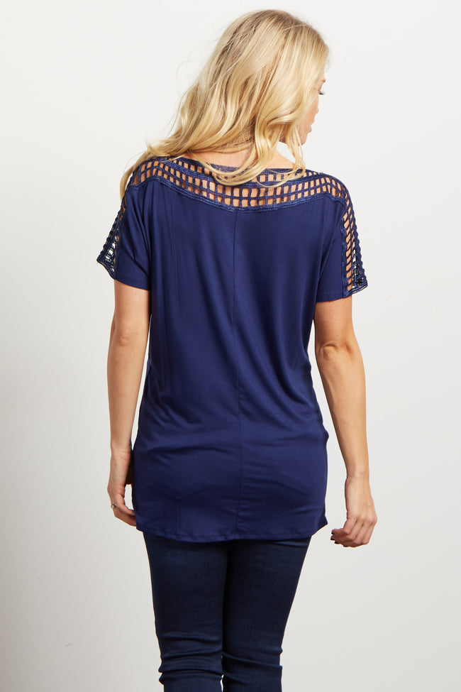 Navy Square Cutout Accent Maternity Top