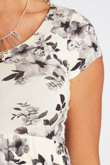 White Floral Printed Basic Maternity Dress