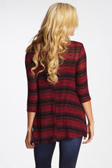 Burgundy Black Striped Knit 3/4 Sleeve Maternity Top