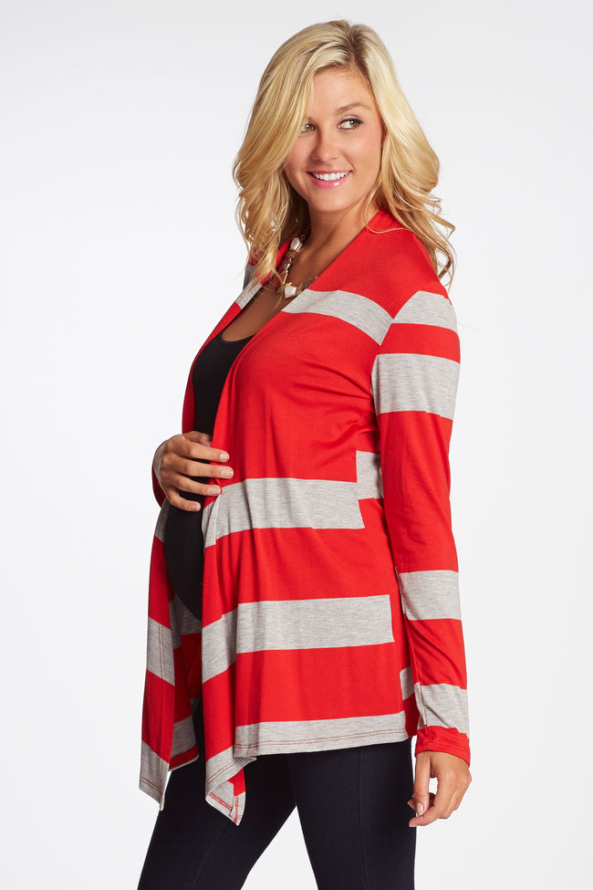 Red Grey Striped Colorblock Maternity Cardigan