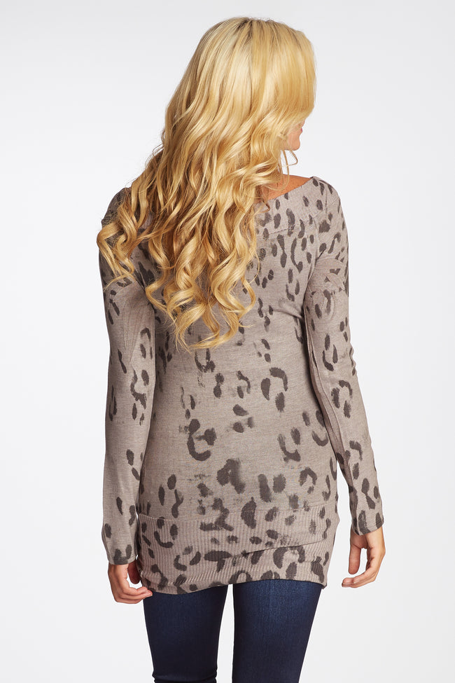 Taupe Black Faded Cheetah Print Fitted Maternity Top