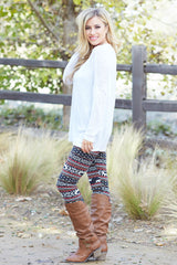 Red Green Multi-Colored Printed Fleece Lined Leggings