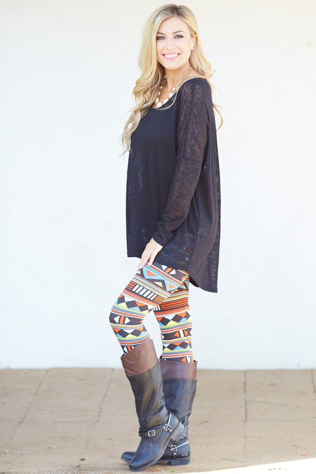 Red Blue Yellow Geometric Printed Fleece Lined Leggings