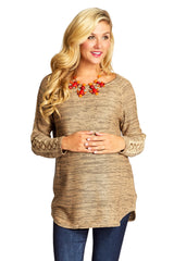 Mocha Crochet Sleeve Maternity Sweater
