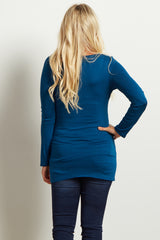 Teal Crochet Neckline Fitted Maternity Tunic