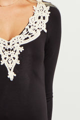 Black Crochet Neckline Fitted Maternity Tunic