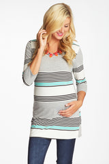 Teal Black Grey Alternating Striped Button Back Maternity Top