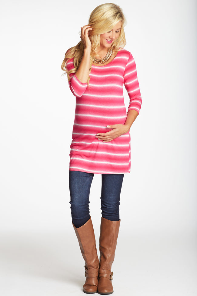 Pink Faded Striped 3/4 Sleeve Maternity Top