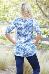 Navy Blue Vintage Floral Printed 3/4 Sleeve Top