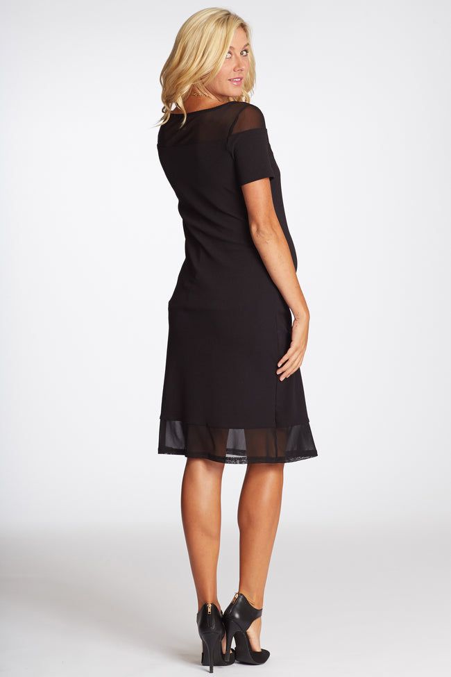 Black Textured Mesh Accent Fitted Maternity Dress