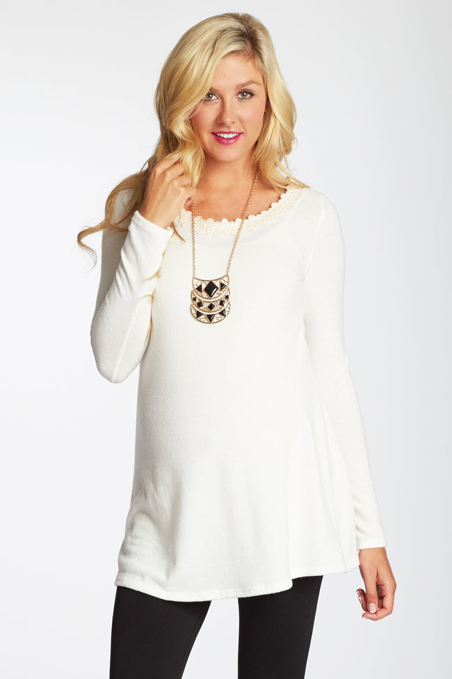 White Crochet Accent Lace Back Knit Maternity Top
