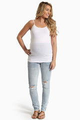 Light Wash Flap Pocket Maternity Skinny Jeans