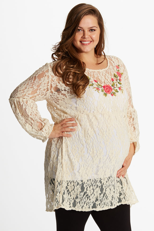 Cream Lace Floral Embroidered Front Bell Sleeve Plus Size Maternity Tunic
