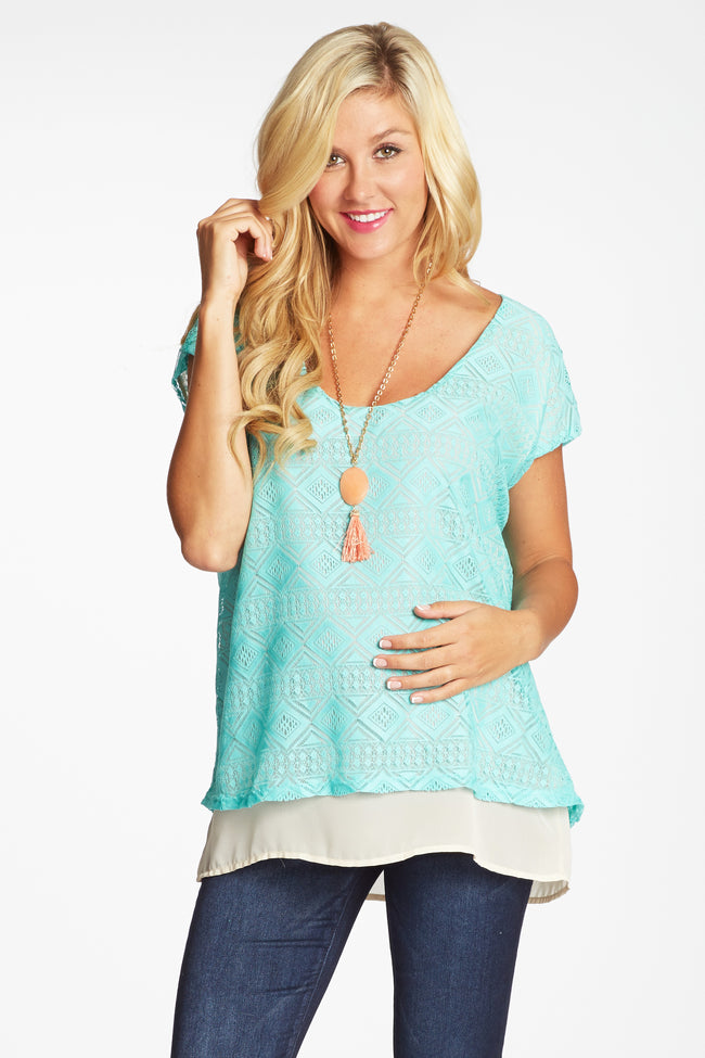 Mint Green Tribal Lace Chiffon Accent Maternity Top