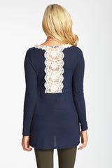 Navy Blue Crochet Accent Lace Back Knit Maternity Top